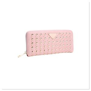 Blush Wallet with Triangle Studs